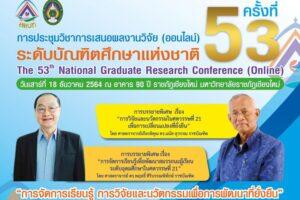 การประชุมวิชาการเสนอผลงานวิจัยระดับบัณฑิตศึกษาแห่งชาติ ครั้งที่ 53 (ออนไลน์) มหาวิทยาลัยราชภัฏเชียงใหม่